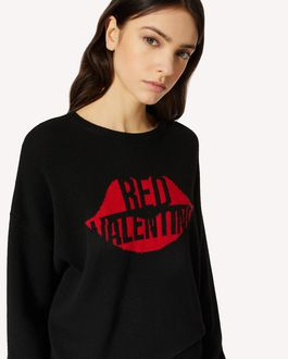 REDValentino Lip 与 REDValentino 提花羊毛混纺毛衣
