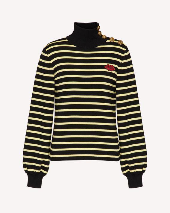 REDValentino 纽扣细节条纹羊毛毛衣
