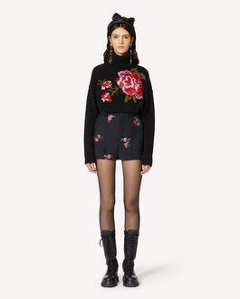 REDValentino 玫瑰刺绣羊驼毛混纺毛衣