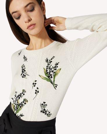 REDValentino 铃兰刺绣羊毛毛衣