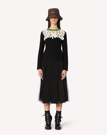REDValentino 羊毛羊绒混纺毛衣,饰有钩编刺绣
