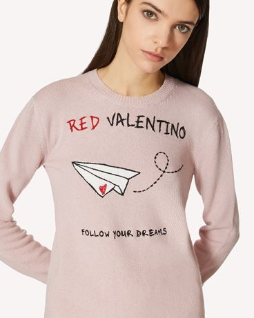 "REDValentino 专属胶囊系列 <br>- 羊毛混纺毛衣配 ""REDValentino Follow your Dreams"" 提花"