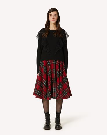 REDValentino 羊毛混纺毛衣配细点网眼薄纱