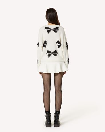 REDValentino 羊毛混纺蝴蝶结图案毛衣