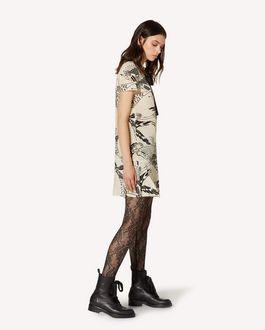 REDValentino 领部细节凤凰印纹真丝连衣裙