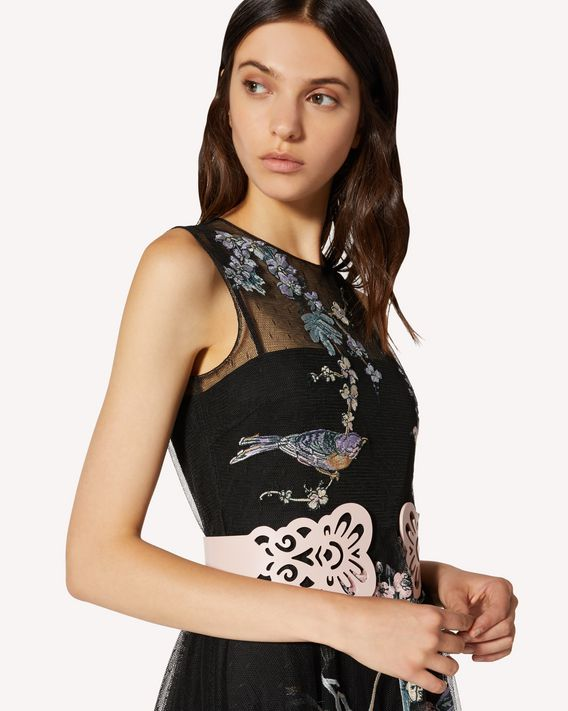 REDValentino Antique Flowers and Birds 刺绣细点网眼薄纱连衣裙