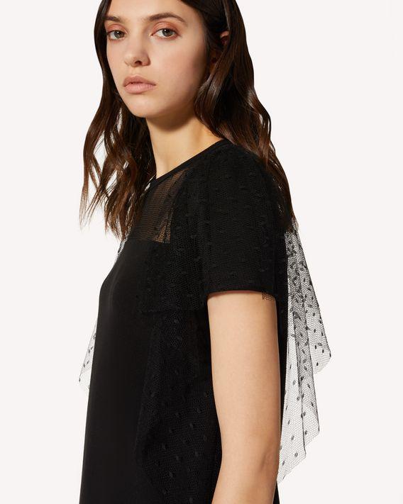 REDValentino 细点网眼薄纱、平纹针织连衣裙
