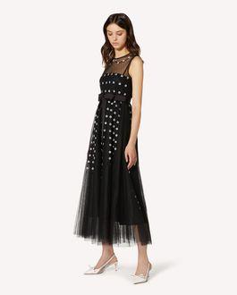 REDValentino 花卉与光线刺绣细点网眼薄纱连衣裙