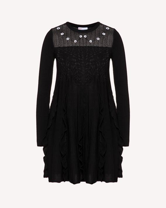 REDValentino 小号花卉刺绣羊毛针织连衣裙