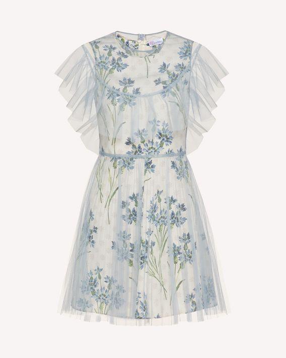 REDValentino 印纹衬裙款薄纱连衣裙