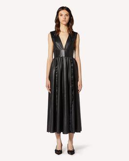 REDValentino 褶饰细节皮革连衣裙
