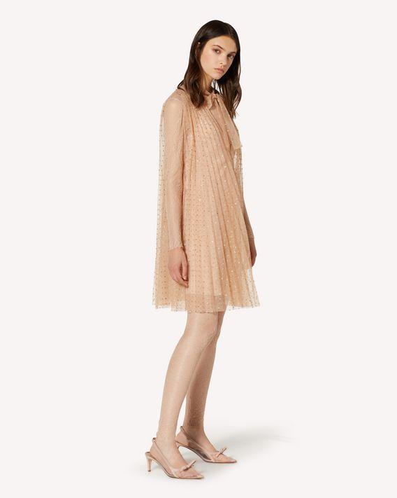 REDValentino 亮片波点薄纱褶裥连衣裙