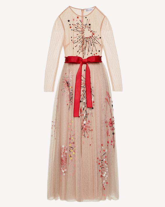 REDValentino 特别胶囊系列 烟花刺绣细点网眼薄纱连衣裙