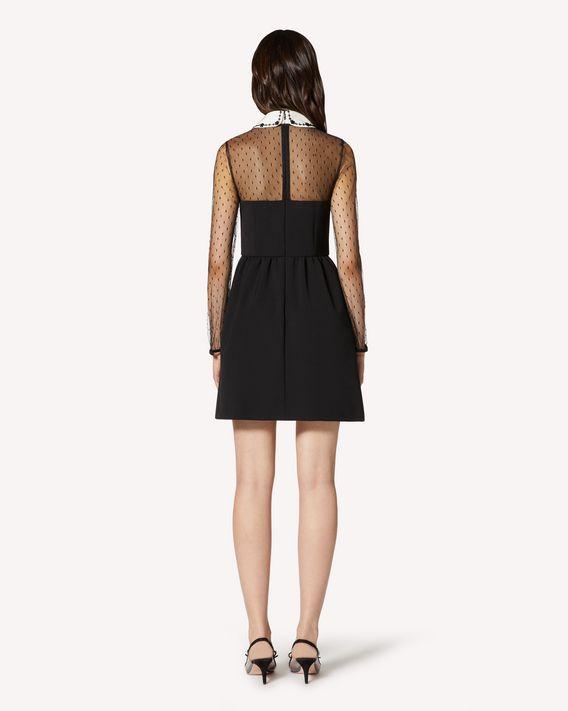 REDValentino 小号花卉刺绣细点网眼薄纱与科技卡迪连衣裙