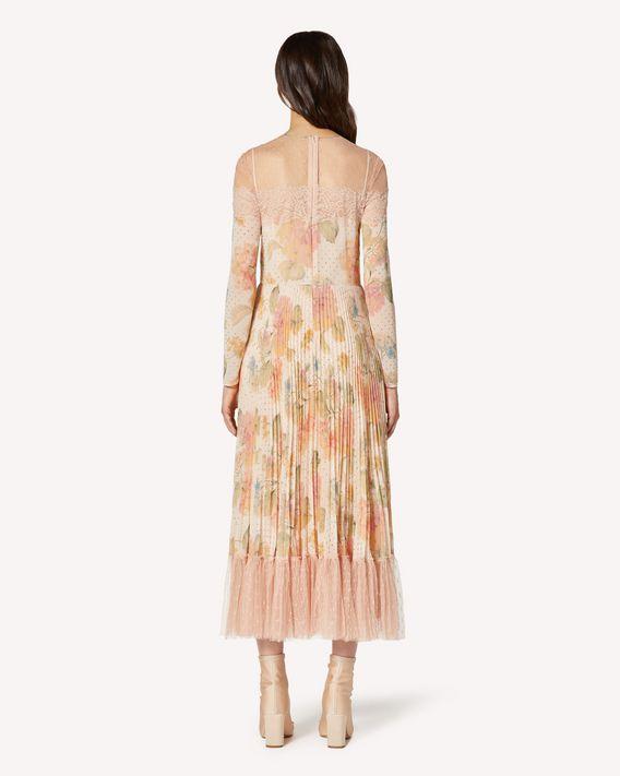 REDValentino Fiori Evanescenti 印纹平纹细布连衣裙