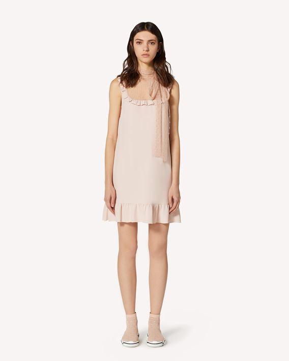 REDValentino 细点网眼薄纱与缎背绉绸连衣裙