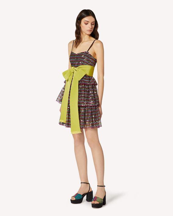 REDValentino 多色亮片刺绣薄纱连衣裙