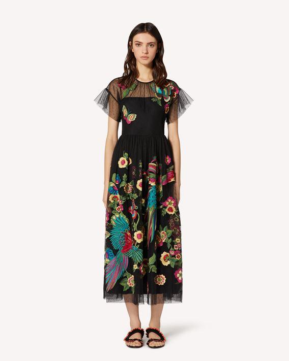 REDValentino 森林天堂鸟刺绣细点网眼薄纱连衣裙