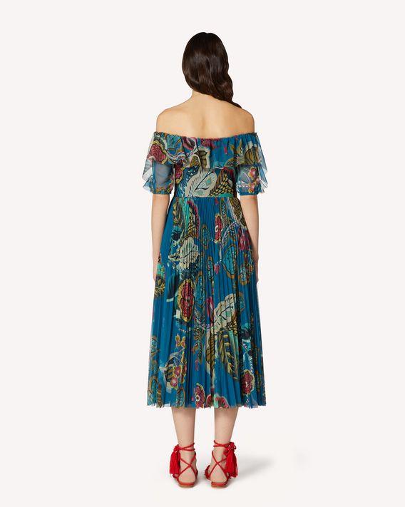 REDValentino Fiori Sinuosi 印纹薄纱褶裥连衣裙