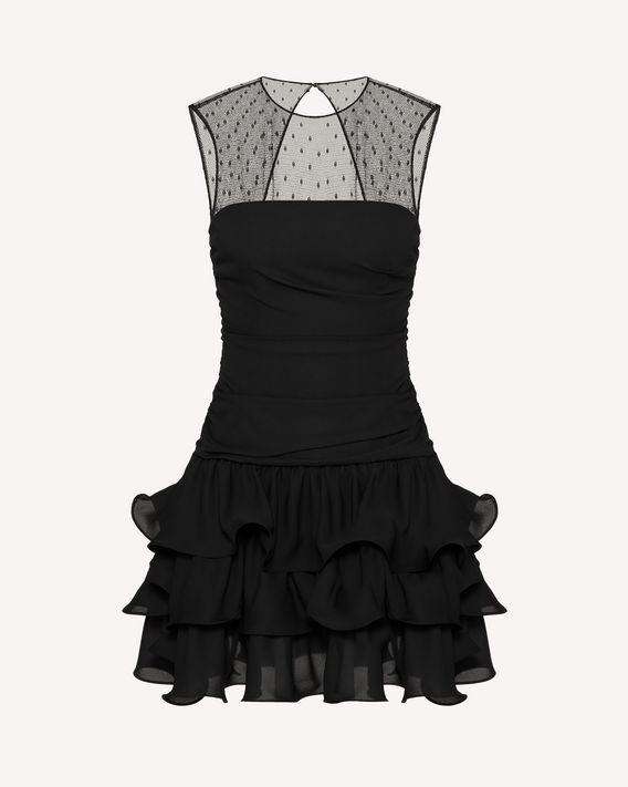 REDValentino 乔其纱与细 点网眼薄纱褶边连衣裙