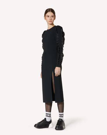 REDValentino 褶饰细节缎背弹力卡迪连衣裙