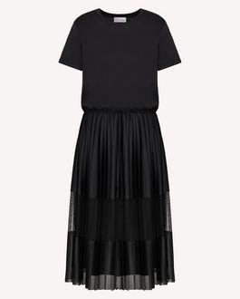 REDValentino  T 恤式连衣裙配平纹针织网眼