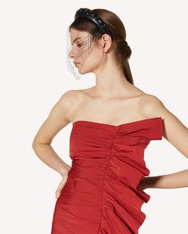 REDValentino 褶饰细节塔夫绸连衣裙