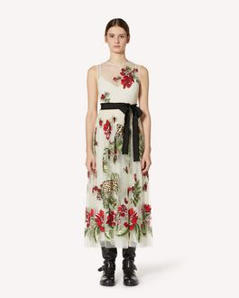 REDValentino Felines in a Flower Jungle 刺绣细点网眼薄纱连衣裙
