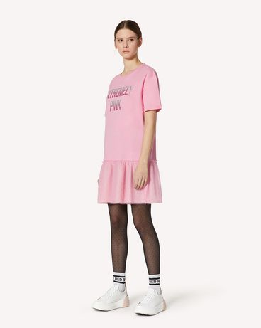 REDValentino Extremely Pink 印纹 T 恤连衣裙