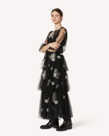REDValentino 欧根纱花卉刺绣细点网眼薄纱连衣裙
