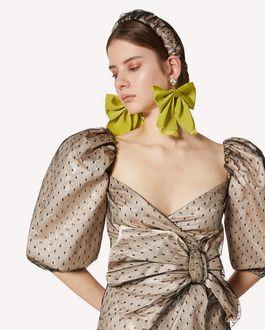 REDValentino 蝴蝶结细节金银丝提花与细点网眼薄纱连衣裙