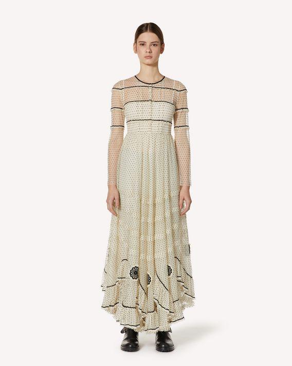 REDValentino 蕾丝饰带植绒微型波点薄纱连衣裙