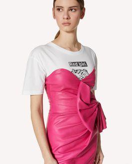 REDValentino 蝴蝶结细节皮革连衣裙