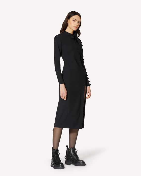 REDValentino 修身弹力双面绉绸连衣裙,配纽扣细节