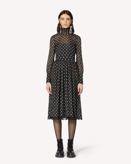 REDValentino 波点印纹轻质绉绸金银丝连衣裙