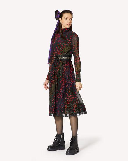 花卉与波点印纹真丝连衣裙
