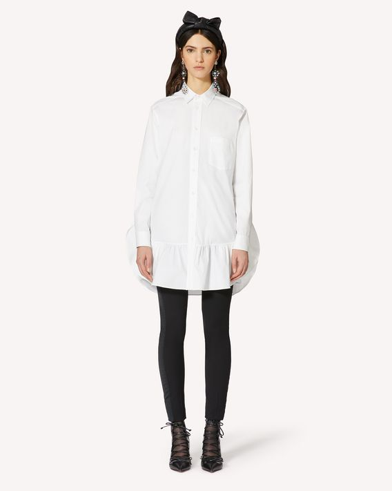 REDValentino 褶边细节棉质府绸连衣裙