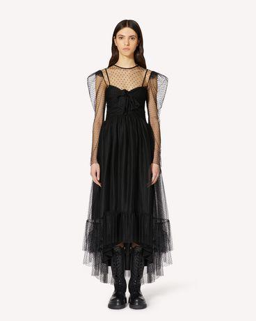 REDValentino 蝴蝶结植绒波点薄纱连衣裙