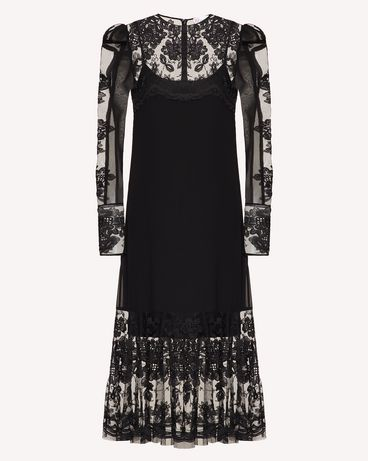 REDValentino 花卉刺绣真丝与薄纱连衣裙