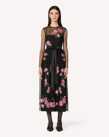 REDValentino 玫瑰刺绣圆点织花薄纱连衣裙