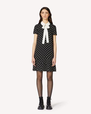 REDValentino 领部细节波点印纹粘胶绉绸连衣裙