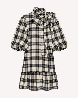 REDValentino 羊毛格纹薄纱连衣裙