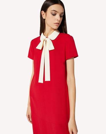 REDValentino 领部细节缎背绉绸连衣裙