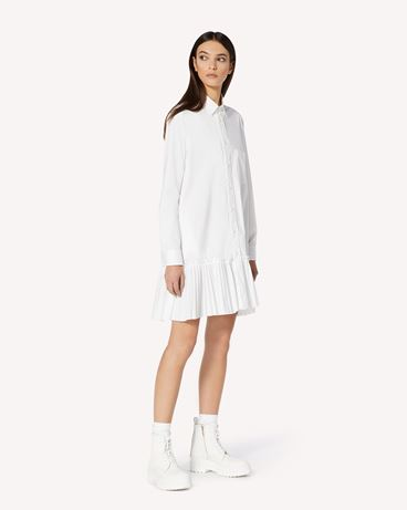REDValentino 褶裥饰边细节棉质府绸衬衫式连衣裙