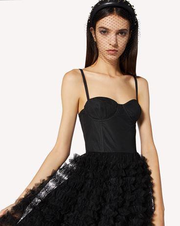 REDValentino 细点网眼薄纱缎带胸衣式连衣裙