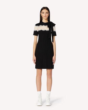 REDValentino 蕾丝饰带羊毛针织连衣裙
