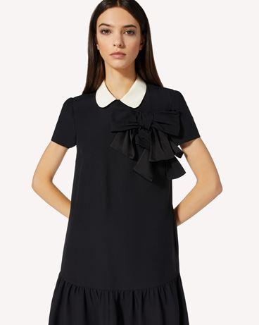 REDValentino 领部细节缎背绉绸连衣裙配蝴蝶结