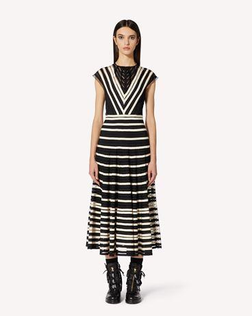REDValentino 细点网眼薄纱连衣裙配罗缎饰带。