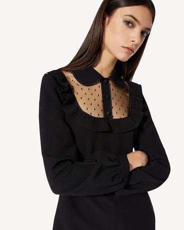 REDValentino 弹力双面绉绸与细点网眼薄纱连衣裙