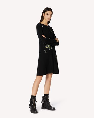 REDValentino 铃兰刺绣羊毛针织连衣裙